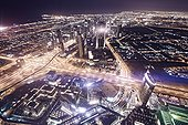 Dubai ; Night scene, overlooking Dubai, Dubai, United Arab Emirates, Asia