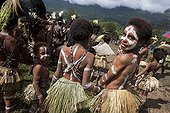 Children with body paint Papua New Guinea  ; Traditional dance school called Framin singsing