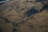 Biotope de l'Oryctérope RN Tussen-die-Riviere Afrique du Sud ; Vue aérienne de la zone de suivi scientifique