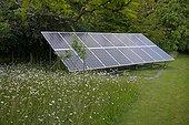 England ; Photo Voltaic cells set in garden meadow, England, UK