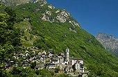 Switzerland ; Haufendorf Corippo, smallest municipality in Switzerland. Verzascatal, Corippo, Ticino, Switzerland, Europe