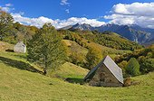 Barn covered with slates Pass Bouesou Pyrenees France ; Typical construction Béarn