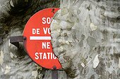 Road sign covered by a Plane France