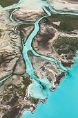 Aerial view of river flowing into a lagoon - island of Exuma - Bahamas