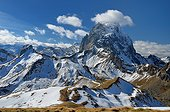 Northeast face of Pic du Midi d'Ossau in the Pyrenees France