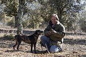 Crowd of black truffle with Dog Provence France