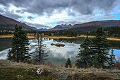 Lake and tundra in autumn Yukon Canada ; Lakeland South