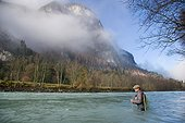Fly fishing for grayling - Hight Tyrol Austria  ; Drau River