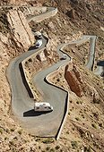 S-turns in the Dades Gorge - High Atlas Morocco  ; At the narrowest spot of the Dadès gorge in the southern High Atlas mountains, the road climbs up in dramatic serpentines