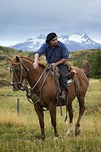 Gaucho sitting on horse ready for a ride - Patagonia Chile