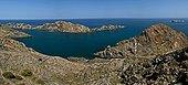 Rocky coast - Cap de Creus Catalonia Spain  ; Landscape t geological interest with shale metamorphic rock) and pegmatites (subvolcanic rock).