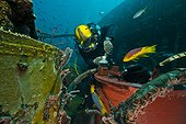 Repairing air-condition unit - Aquarius Reef Base Florida ; Umbilical diver repairing the air condition unit