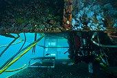 Wet porch entry/exit hatch - Aquarius Reef Base Florida ; wet porch entry/exit hatch moon pool. air bubbles from habitat exhaust