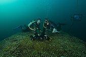 Divers on top platform - Aquarius Reef Base Florida ; writer Lars Abromeit/GEO (l) and uw-photographer Christoph Gerigk