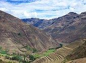 Inca site of Pisac - Sacred Valley of the Incas Peru  ; The ruins are spread along the ridge into 4 groups: Pisaqa, Intihuatana, Q'Allaqasa and Kinchiracay.