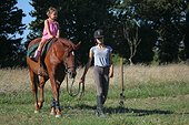 Young Rider walking a girl riding - France