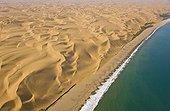 Aerial view of coastal dunes - Namib Desert Namibia