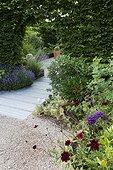 Flowered path at Jardins fruitiers de Laquenexy ; Le jardin des sens