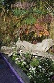 Teak root bench on the side of a garden pound ; Landscaper: Pierre-Alexandre RISSER