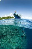 Diver and Boat above reef - Bunaken NP  Indonesia