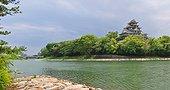 Okayama Castle and Asahi river at Okayama - Japan