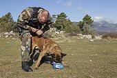 Entrainement à la piste pour recherche de personne disparue ; Equipe cynophile de la Gendarmerie du GIC06