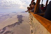Aerial view of mountains of the Namib Desert Namibia ; from a balloon