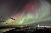 Aurora borealis and bridge Jökulsárlón - Iceland