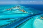Vue aérienne des Îles Exumas - Bahamas
