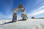 Inukshuk rock sculpture on Marble Island - Nunavut Canada