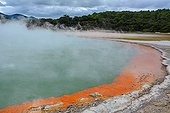 Champagne Pool - Wai-O-Tapu New Zealand  ; source of hot water (74 degrees) and has completed a crater 62 meters deep / bubbles at the surface are CO2 / orange color from the edge of an accumulation of arsenic, sulfides, gold and silver