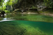 """The Cheran river in summer - Alpes France ; Cheran is a course labeled """"Wild River"""" from 2014 by the Fund for the Conservation of Wild Rivers water."""