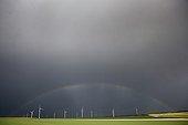 Windmills under a rainbow - Champagne France