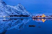 Traditional house at dusk - Lofoten Norway