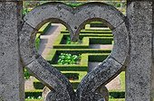 Railing and heart shaped French garden - France