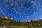 Num-Ti-Jah Lodge Star Trails - Banff NP Alberta Canada ; 	A composite of 233 images, taken with the Canon 5D MkII and 16-35mm lens, at Bow Lake in Banff, showing circumpolar star trails across the sky looking north over Num-Ti-Jah Lodge. Each image was 50 seconds, taken at 1s intervals at ISO 1250 and at f/4. Stacked in Photoshop using Chris Schur's Photoshop Action.