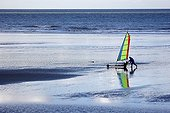 Land sailing on the beach in Normandy - France