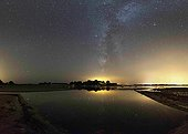 Milky Way reflecting in an oyster basin - Britain France ; Far left, the star Fomalhaut in the Southern Fish. In the center, Altair Eagle and top right, Vega in Lyra.