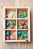 Painted quail eggs in a box