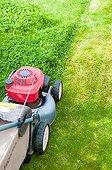 Lawn mower in a garden