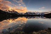Chéserys lake and the Mont-Blanc - France Alps  ; Mont Blanc, Chamonix needles, Grandes Jorasses, the Dru, Aiguille Verte ...