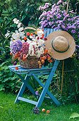 Bouquets on a decorative garden chair
