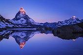 Matterhorn ; Matterhorn, lake Riffel, Zermatt, Switzerland