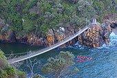 "Kayaks and suspension bridge - Tsitsikamma South Africa ; The ""Garden Route"" Mossel Bay to Port Elizabeth."