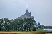 Helicopter over Mont Saint-Michel - Normandy France  ; Air transport materials for the renovation of the cellar