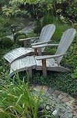 Deckchairs in a garden