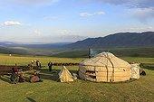 Eleveurs nomades Kirghiz et yourte - Kirghizistan