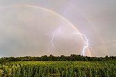 Orage au soleil couchant en été - Pays de la Loire France