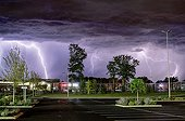 Storm over a mall at night - France  ; Overlay 3 photos 30 seconds equivalent to a period of 1 minutes 30 seconds.