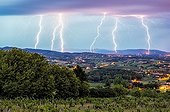 Storm over the Monts du Lyonnais and Maconnais - France  ; Overlay 3 photos 30 seconds equivalent to a period of 1 minutes 30 seconds.
